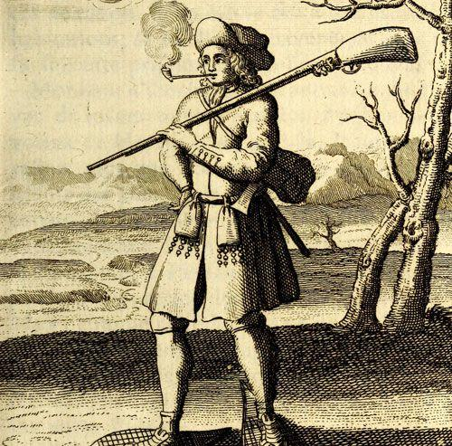 Representation of a French Canadian in war dress during the winter, published in 1722 by Claude-Charles Bacqueville de La Potherie.